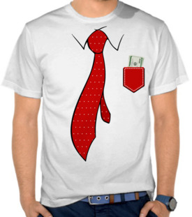 Red Polka Dots Tie With Money